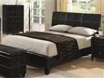 Danielle Black Bycast Like Vinyl Upholstered Bed by Coaster - 201261Q