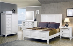 Sandy Beach Panel Bed 6 Piece Bedroom Set in White Finish by Coaster - 201301
