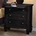 Sandy Beach 3 Drawer Nightstand in Black Finish by Coaster - 201322