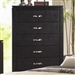 Dylan Chest in Black Finish with Black Vinyl Upholstery by Coaster - 201405