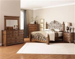 6 Piece Edgewood Poster Bed Bedroom Set In Distressed Warm