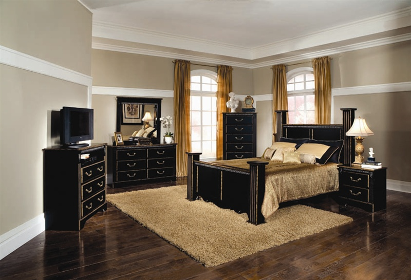 Kingsley 6 Piece Bedroom Set In Black With Brushed Gold Finish By Coaster 2