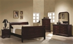 Louis Philippe 4 Piece Youth Bedroom Set in Rich Cherry Finish by Coaster - 203971T