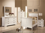 Louis Philippe Youth 4 Piece Bedroom Set in White Finish by Coaster - 204691T