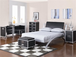 LeClair 4 Piece Black and Metal Youth Bedroom Set by Coaster - 300200