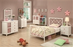 Juliette 4 Piece Youth Bedroom Set in White Metal Finish by Coaster - 300344
