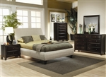 Phoenix Platform Upholstered Bed 6 Piece Bedroom Set in Rich Deep Cappuccino Finish by Coaster - 300369