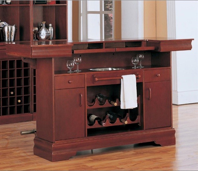 Lambert Traditional Bar Unit With Sink In Cherry Finish By Coaster 3078