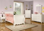 Pepper Youth 4 Piece Sleigh Bed Bedroom Set in Eggshell White Finish by Coaster - 400360