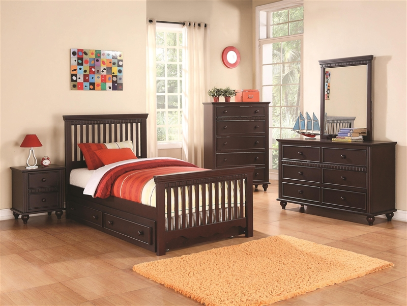 Oliver 4 Piece Youth Bedroom Set in Cappuccino Finish by