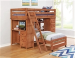 Wrangle Hill Twin/Twin Loft Bed in Amber Wash Finish by Coaster - 460141