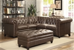 Roy Sectional in Brown Bonded Leather by Coaster - 500268