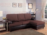 Rupard Brown Microfiber/Vinyl Sofa Chaise Reversible Sectional by Coaster - 500605