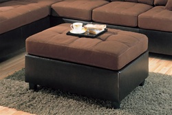 Harlow Ottoman in Chocolate Microfiber and Dark Brown Faux Leather by Coaster - 500656
