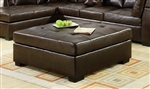 Darie Brown Leather Ottoman by Coaster - 500687