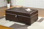 Dark Brown Vinyl Ottoman with Sleeper by Coaster - 500750