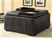Multi-Purpose Black Leather Like Storage Ottoman by Coaster - 500876