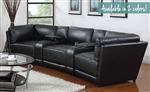 Kayson 5 Piece Sectional in Black Leather by Coaster - 500890BLK