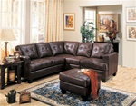 Samuel 3 Piece Dark Brown Bonded Leather Sectional Sofa by Coaster - 500911