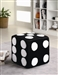 Dice Ottoman in Black Fuzzy Fabric in by Coaster - 500941