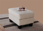 Samuel Cream Bonded Leather Ottoman by Coaster - 501694