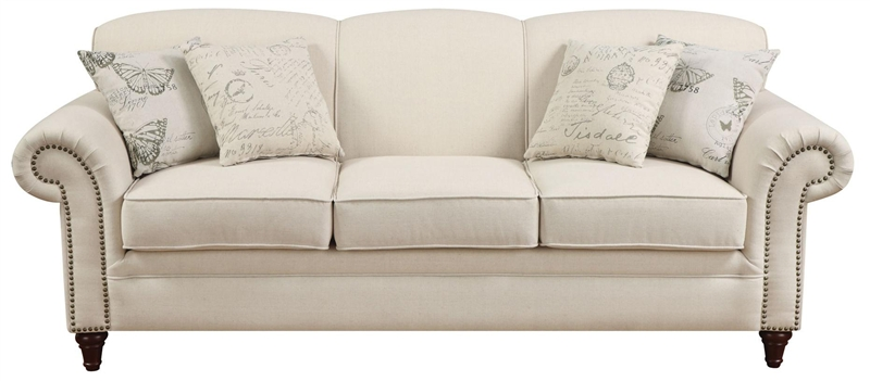 Norah Oatmeal Linen Fabric Sofa By Coaster 502511