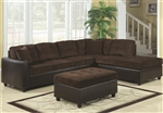 Henri Reversible Sectional in Two Tone Chocolate Corduroy Upholstery by Coaster - 503013