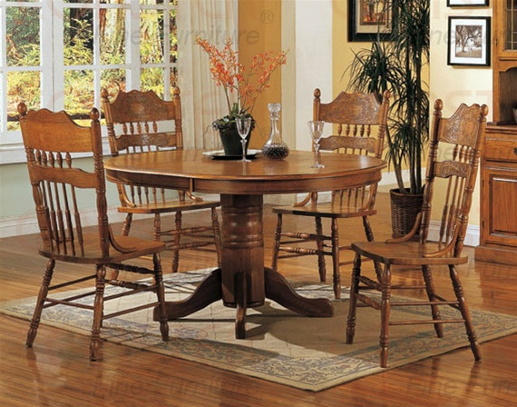 Nostalgia 5 piece 42 inch round dining set with press back for Light oak dining furniture