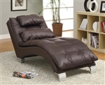 Dark Brown Leather Like Vinyl Accent Chaise by Coaster - 550076