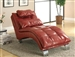 Red Leather Like Vinyl Accent Chaise by Coaster - 550077