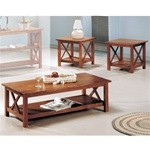 Brown Finish Occasional Table Set by Coaster - 5907