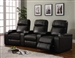 Kingston 3 Seat Power Motion Theater Seating in Dark Brown Leather Upholstery by Coaster - 600135M