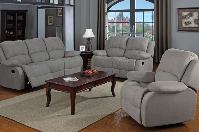 Reed grey microfiber reclining loveseat by coaster 600862 for Sofa and loveseat sets on sale