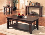 3 Piece Occasional Table Set in Cherry Finish by Coaster - 700007S