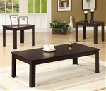 3 Piece Occasional Table Set in Dark Walnut Finish by Coaster - 700215