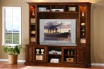 2 Piece Merlot Oak Finished TV Console with Lighted Hutch by Coaster - 700231