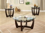 Round Glass Top 3 Piece Occasional Table Set in Cappuccino Finish by Coaster - 700295