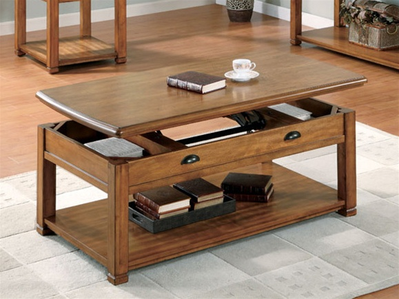 Lift Top Coffee Table In Oak Finish By Coaster 701188