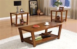 3 Piece Occasional Table Set in Warm Rich Brown Finish by Coaster - 701513