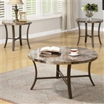 Marble and Metal 3 Pc Occasional Table Set by Coaster - 701521
