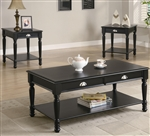 Black Satin Finish 3 Piece Occasional Table Set by Coaster - 701526