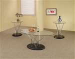 Chrome and Glass 3 Piece Occasional Table Set by Coaster - 701555
