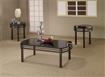 Black Glass Tops 3 Piece Occasional Table Set by Coaster - 701561