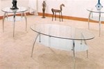 Chrome & Glass 3p Occasional Table Set by Coaster - 7635
