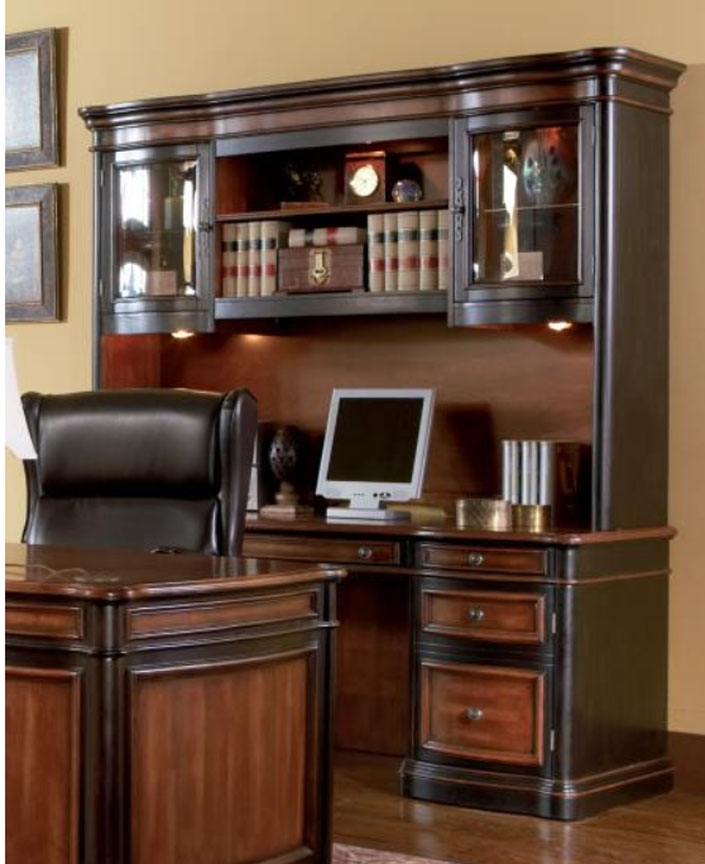 Two Toned Grand Style Home Office Computer Desk With Hutch