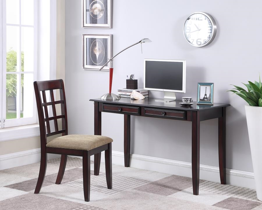 2 piece home office desk and chair in brown finish by coaster 800780 brown finish home office