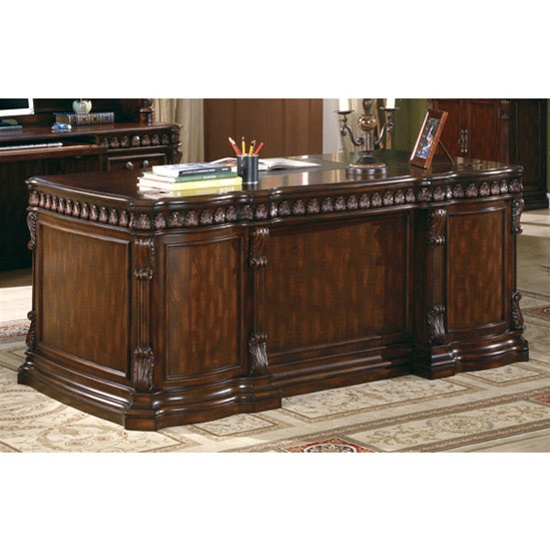 Traditional Home Office Executive Desk In Rich Brown