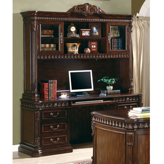 Traditional Home Office Computer Desk with Hutch in Rich Brown Finish