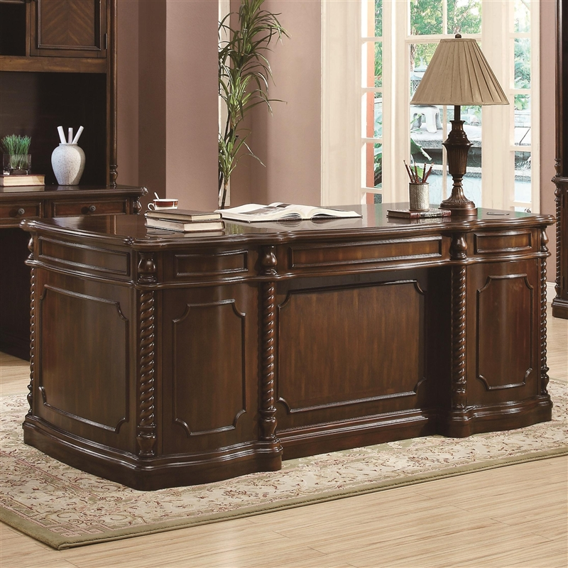 Webb Traditional Home Office Executive Desk In Walnut