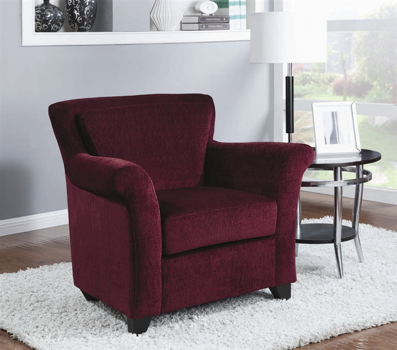 Burgundy Chenille Accent Chair By Coaster 900304